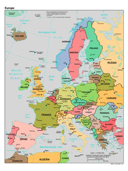 Large scale political map of Europe - 1997.