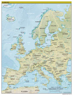 Large scale political map of Europe with relief, capitals and major cities - 2010.