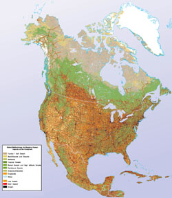 Detailed human impact map of North America.