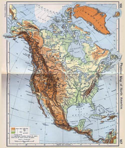 Detailed old physical map of North America.