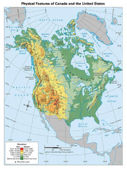 Detailed physical map of North America.