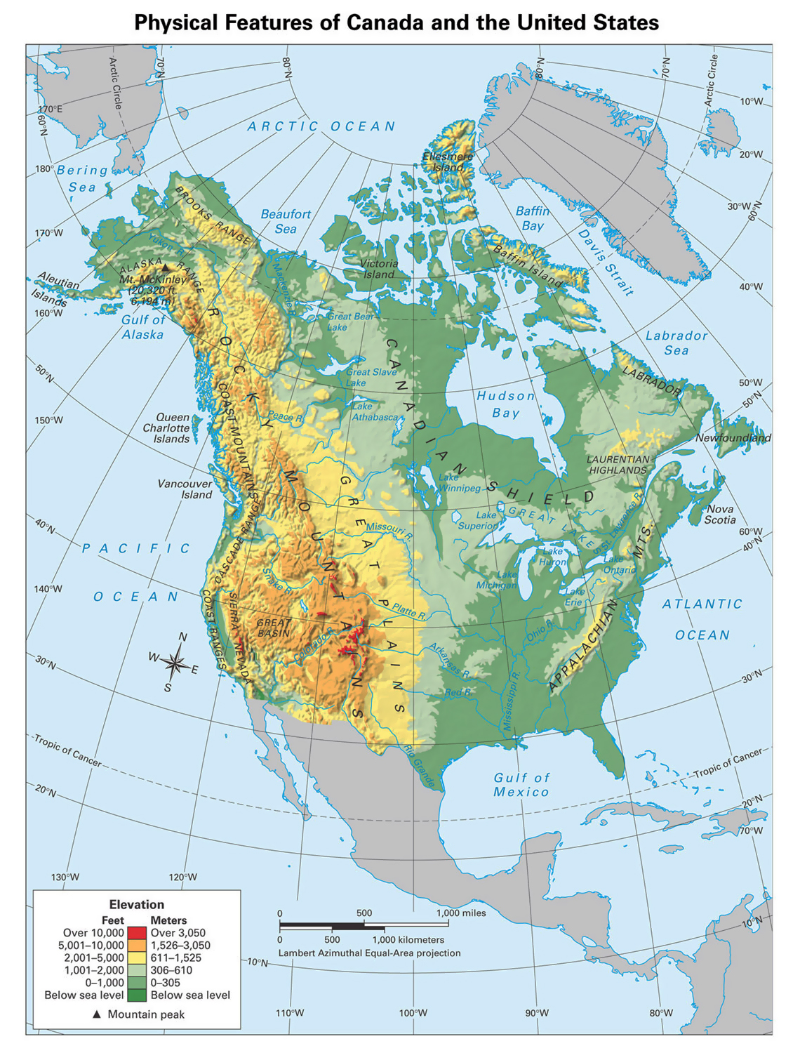 north america on the world map
