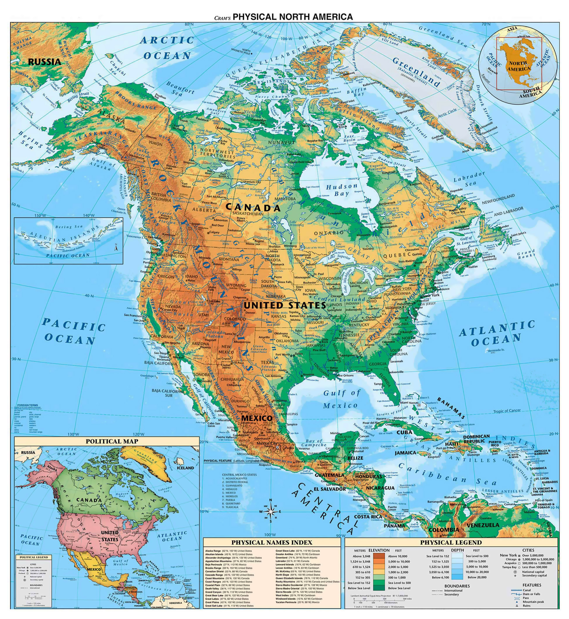 Maps of north america and north american countries political maps detailed physical map of north and central america gumiabroncs Gallery