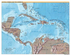 Detailed political map of Central America and the Carribean with relief - 2002.