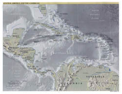 Detailed political map of Central America and the Carribean with relief and cities - 2001.
