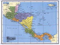 Detailed political map of Central America.