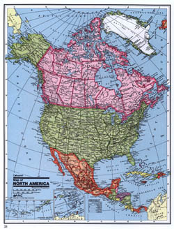 Detailed political map of North America.