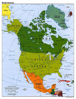 Detailed political map of North America with major cities - 1997.