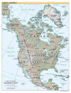 Detailed political map of North America with relief, cities and capitals - 1999.