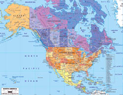 Detailed political map of North America with roads and major cities.