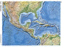 Detailed relief map of Central America.