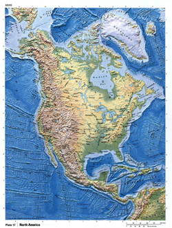 Detailed relief map of North America.