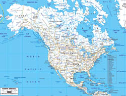 Detailed road map of North America with major cities.