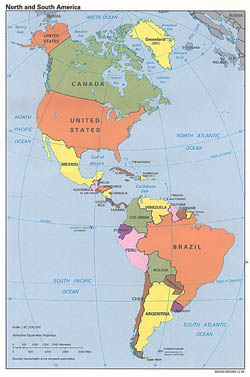 Large detailed political map of North and South America - 1996.