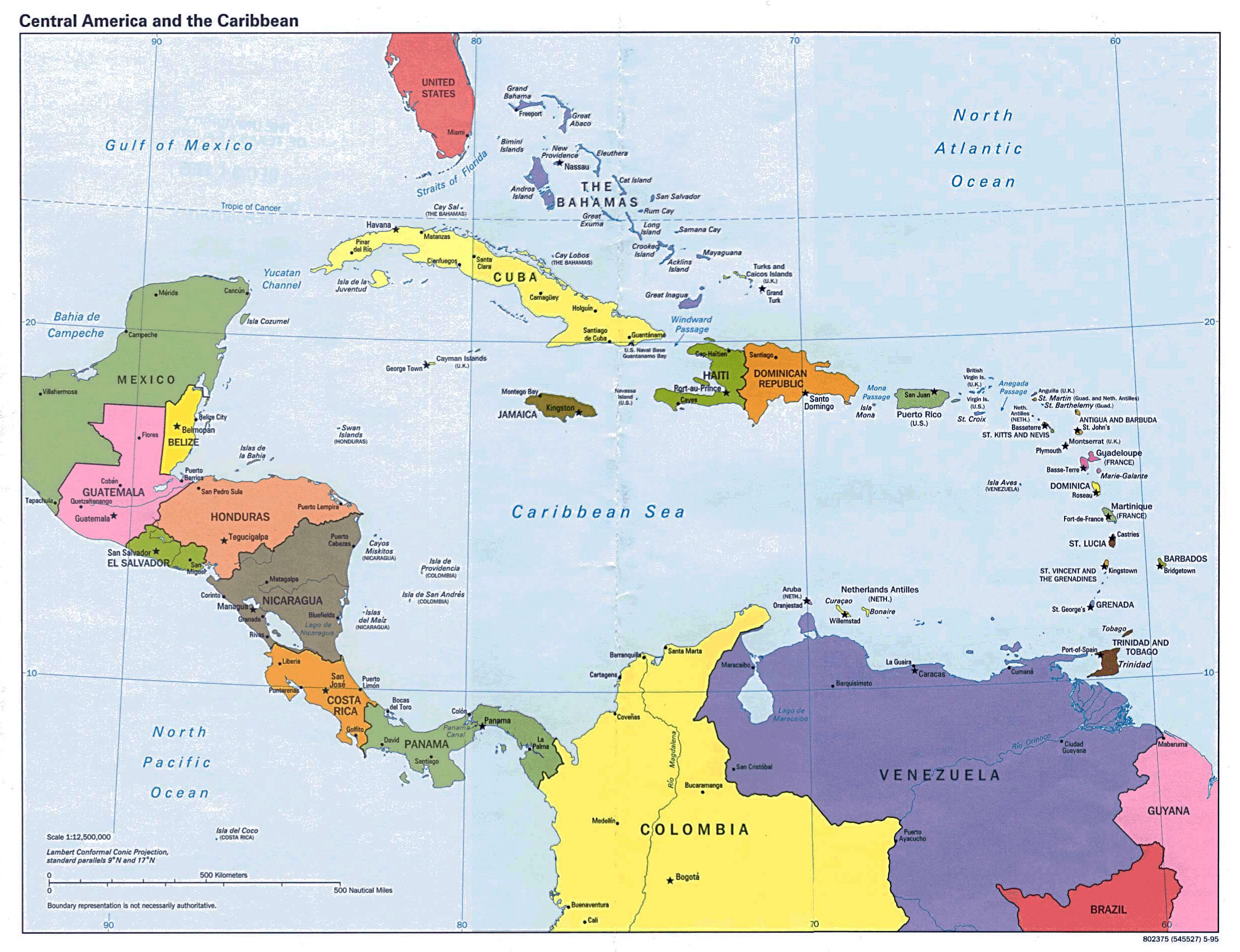 Maps of north america and north american countries political maps large detailed political map of central america 1995 gumiabroncs Image collections