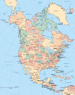 Large detailed political map of North America with administrative divisions.