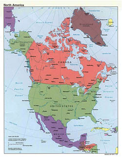 Large detailed political map of North America with capitals and major cities - 1992.