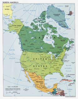Large detailed political map of North America with major cities - 2006.