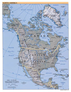 Large detailed political map of North America with relief and major cities - 2007.