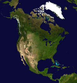 Large detailed satellite map of North America.