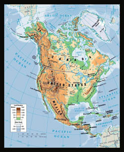 Large physical map of North America.