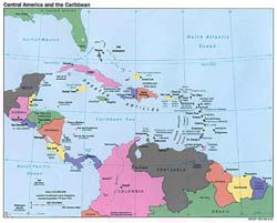 Large political map of Central America and the Carribean with capitals - 1993.