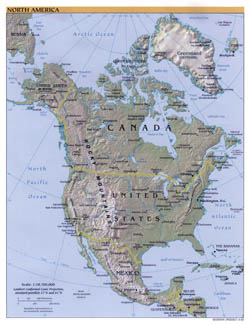Large political map of North America with relief and cities - 2000.