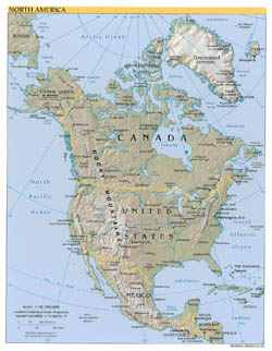 Large political map of North America with relief, major cities and capitals - 2002.