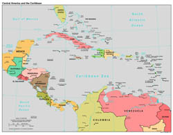 Large scale political map of Central America and the Carribean - 1997.