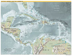 Large scale political map of Central America and the Carribean with major cities and capitals - 2001.