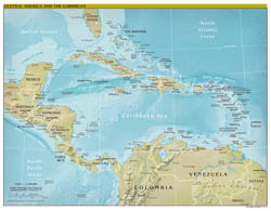 Large scale political map of Central America and the Carribean with relief - 2010.