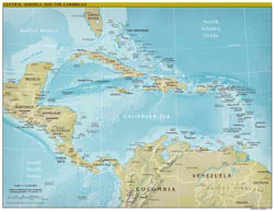 Large scale political map of Central America and the Carribean with relief and capitals - 2011.