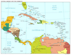 Large scale political map of Central America with major cities and capitals - 2013.