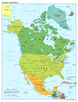 Large scale political map of North America with major cities and capitals - 2012.