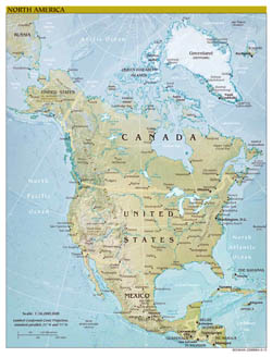 Large scale political map of North America with relief, major cities and capitals - 2010.