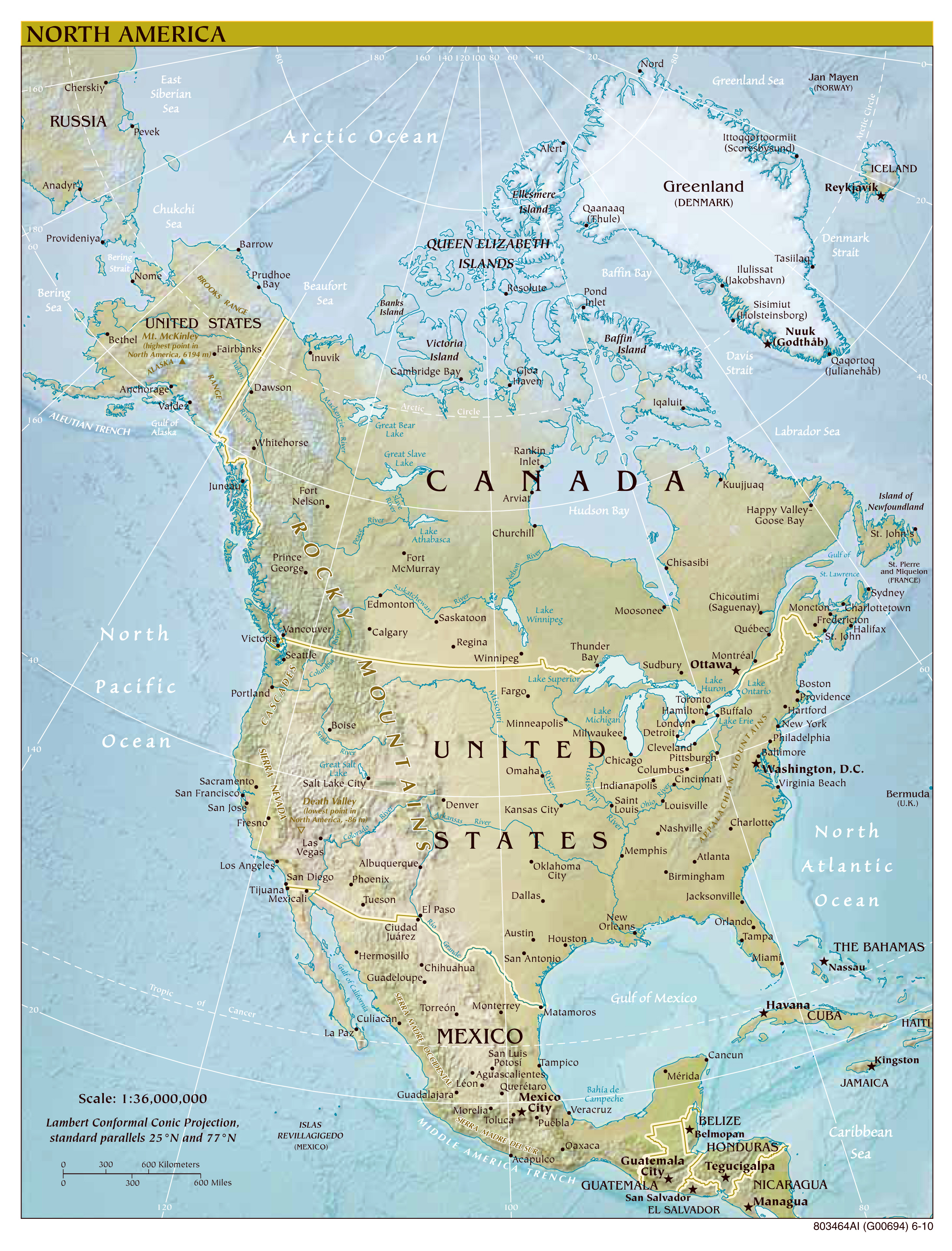 Maps Of North America And North American Countries Political - World map to scale