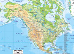 Physical map of North America with roads and major cities.