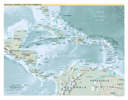 Political map of Central America and the Carribean with relief - 1999.
