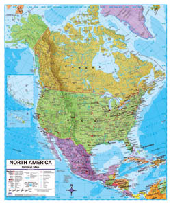 Political map of North America with relief, roads and major cities.