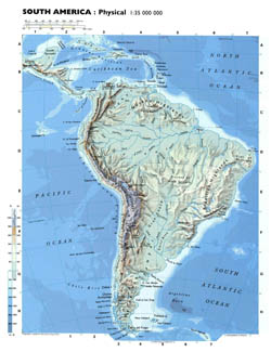 Detailed physical map of South America.