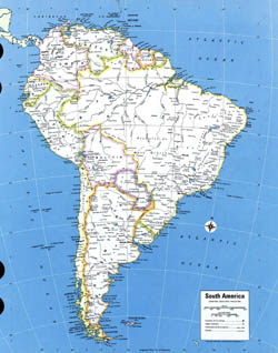 Detailed political map of South America.
