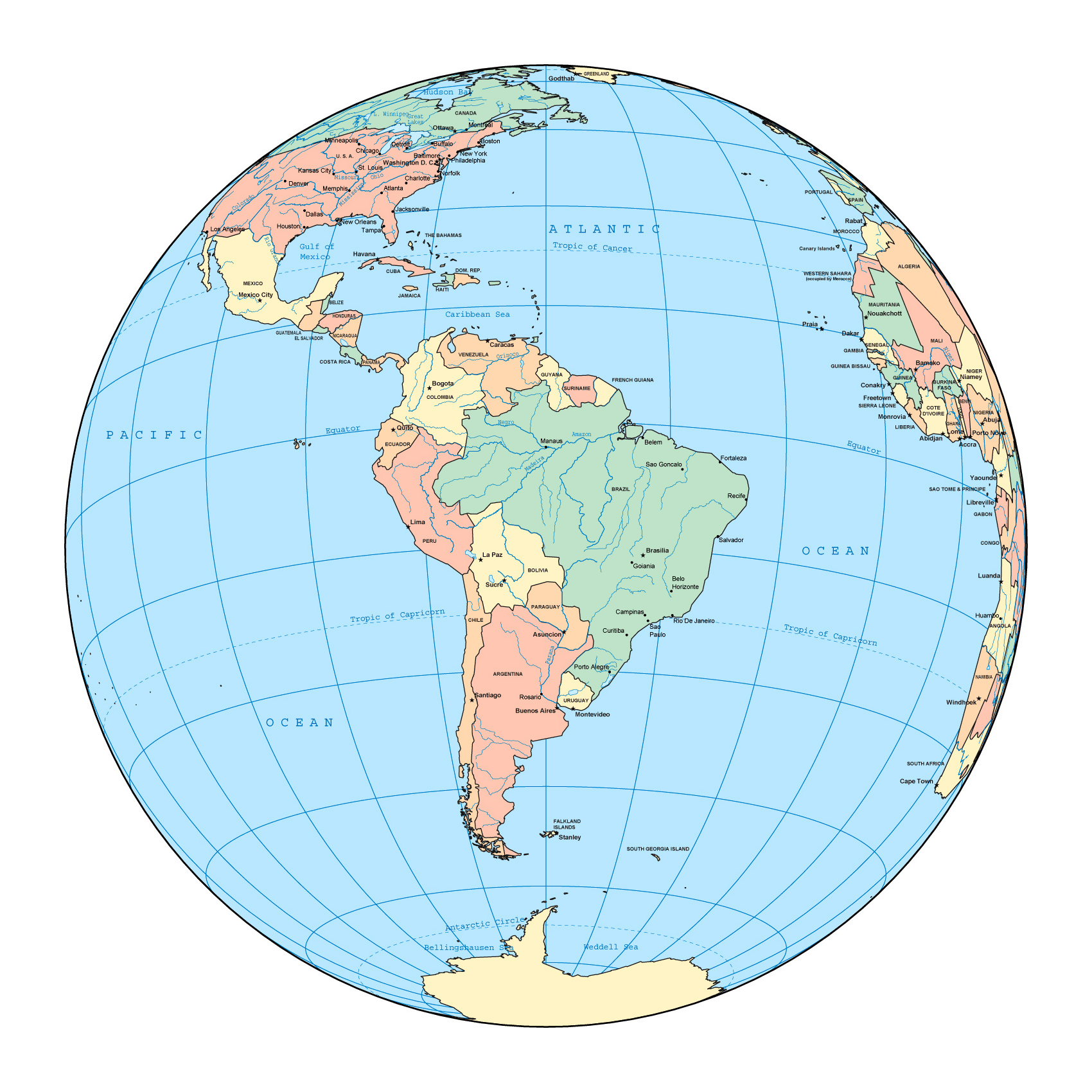Maps Of South America And South American Countries Political - South america capitals map quiz