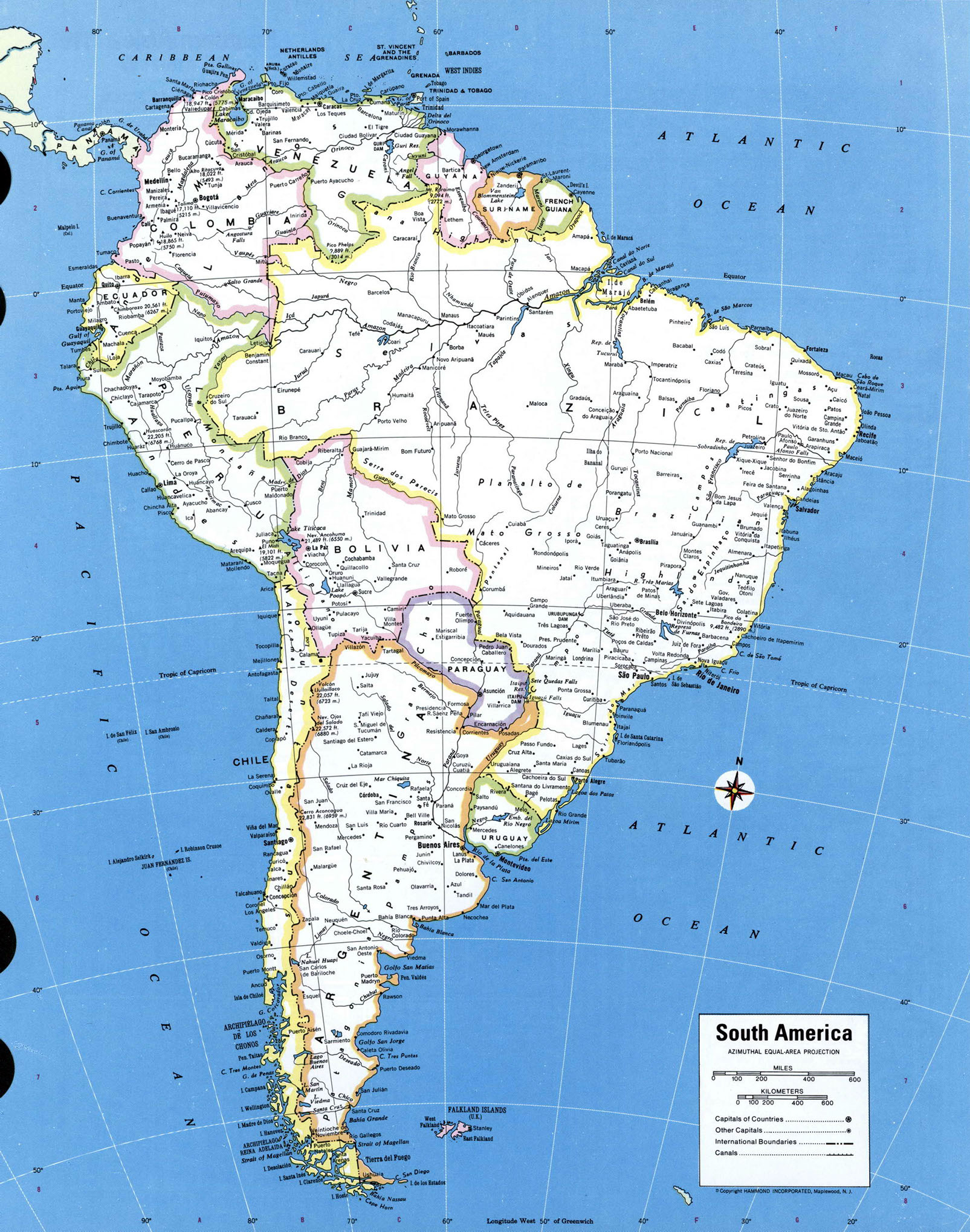 map of south america with countries and capitals map of south