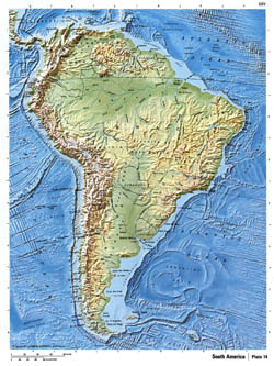 Detailed relief map of South America.