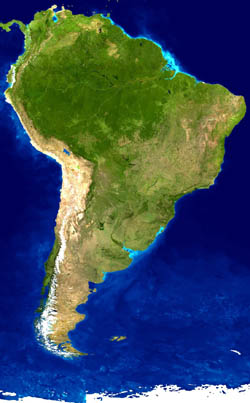 Detailed satellite map of South America.