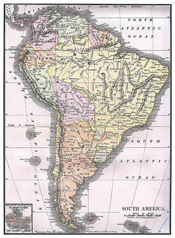 Large detailed old political map of South America - 1892.