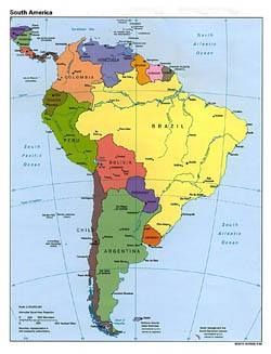 Large detailed political map of South America - 1995.