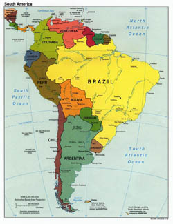 Large detailed political map of South America with capitals - 1998.