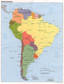 Large detailed political map of South America with capitals and major cities - 1989.