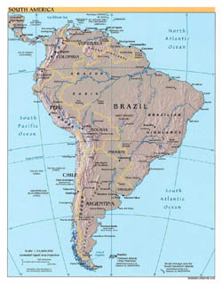 Large detailed political map of South America with relief - 2002.